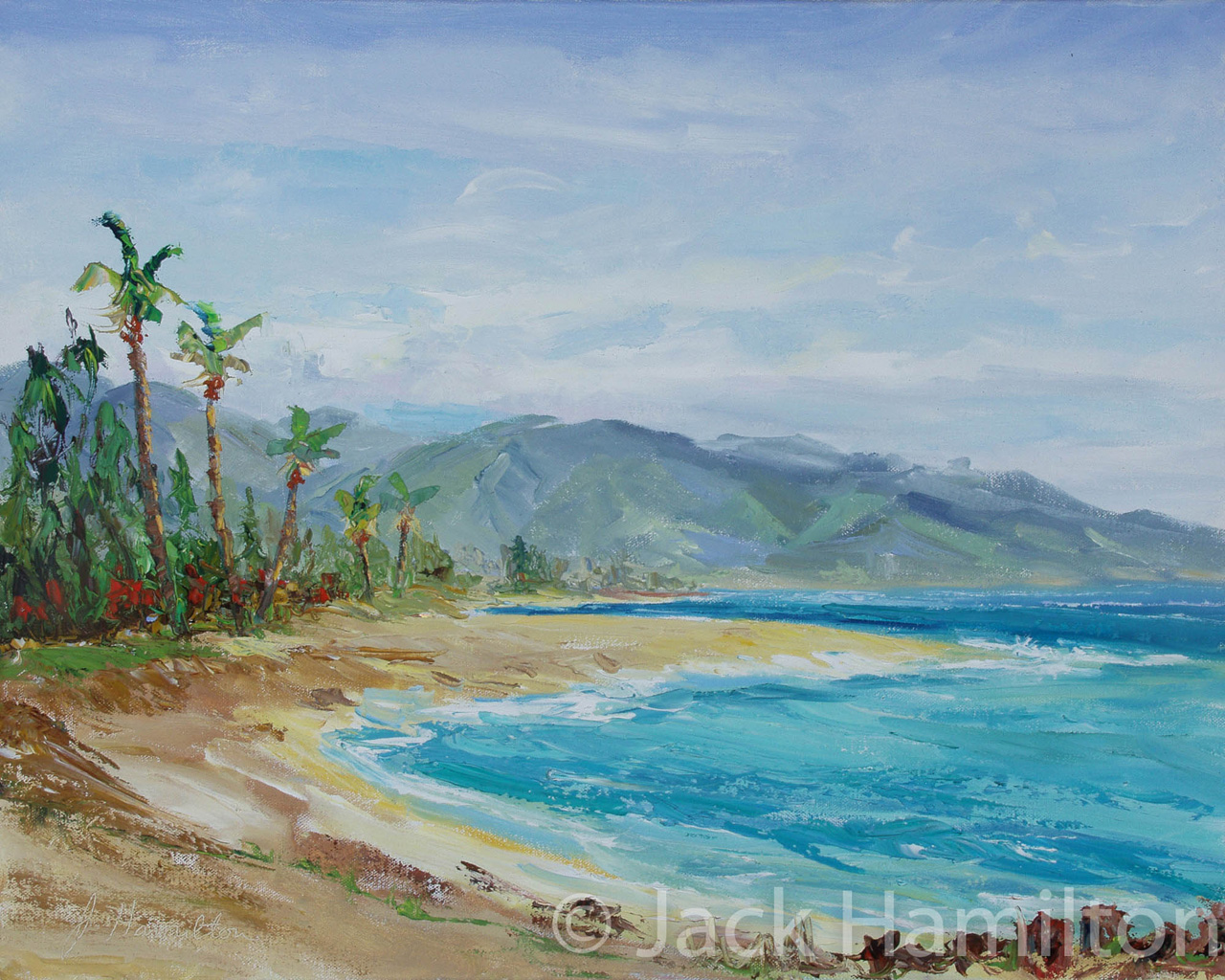 Summer Day At Baldwin Beach by Jack Hamilton oil on canvas