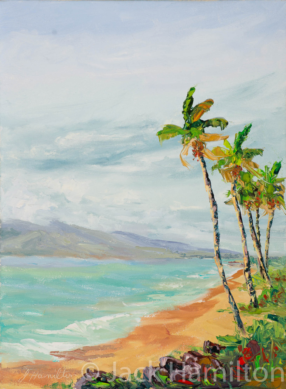 Five Palms At Waimaha'iha'i Beach by Jack Hamilton oil on canvas