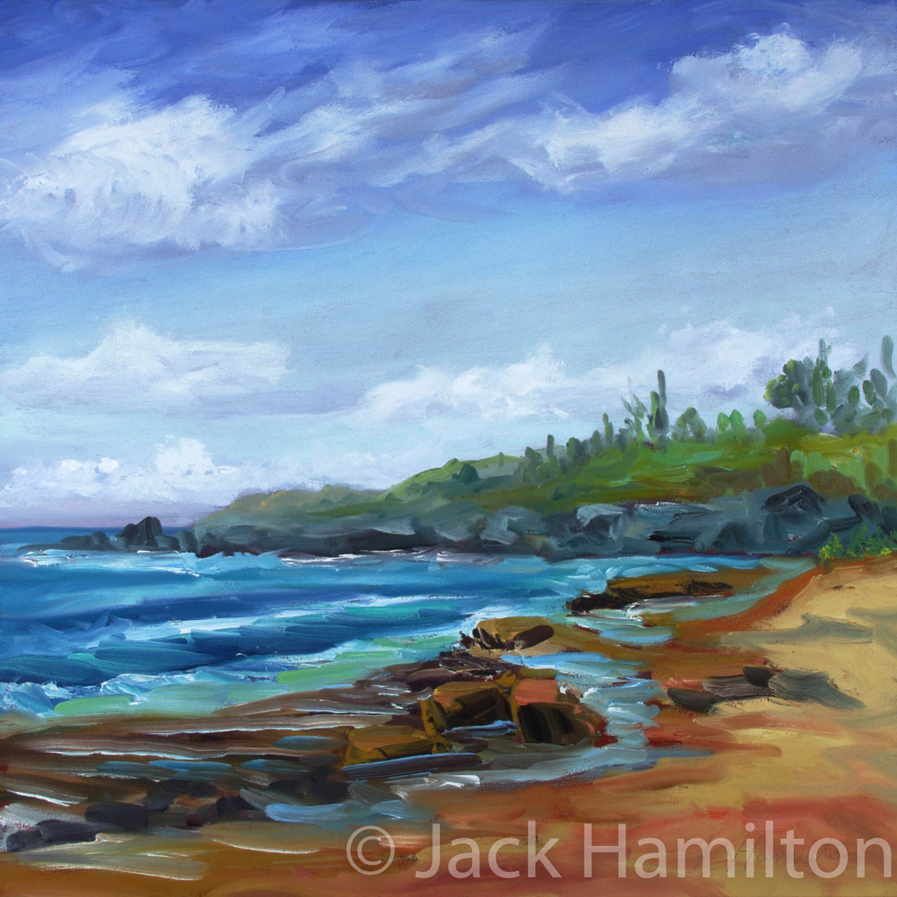 Hookipa Waves, Reef, And Sand Jack Hamilton oil on canvas