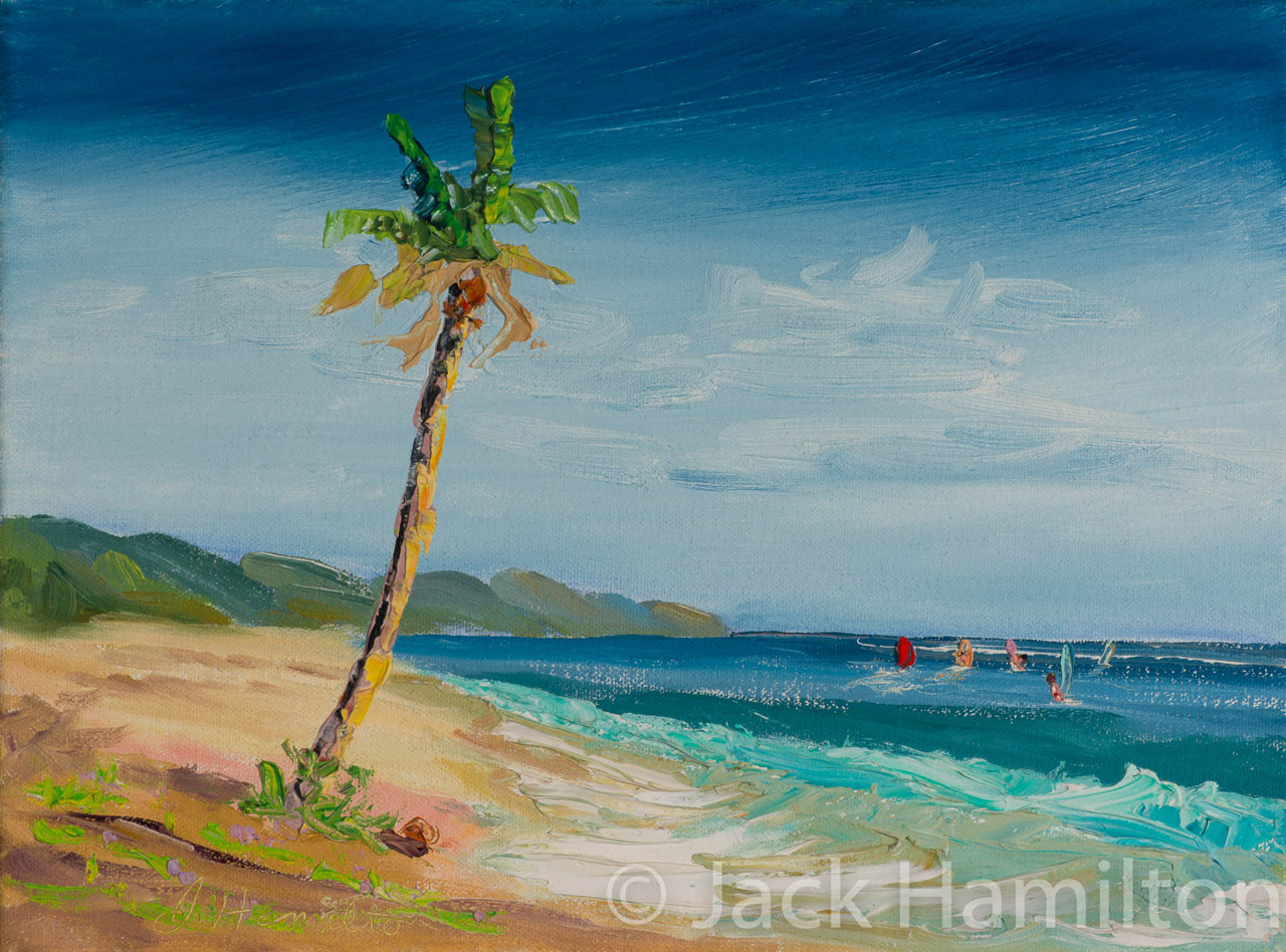 Five Windsurfers And Palm by Jack Hamilton oil on canvas