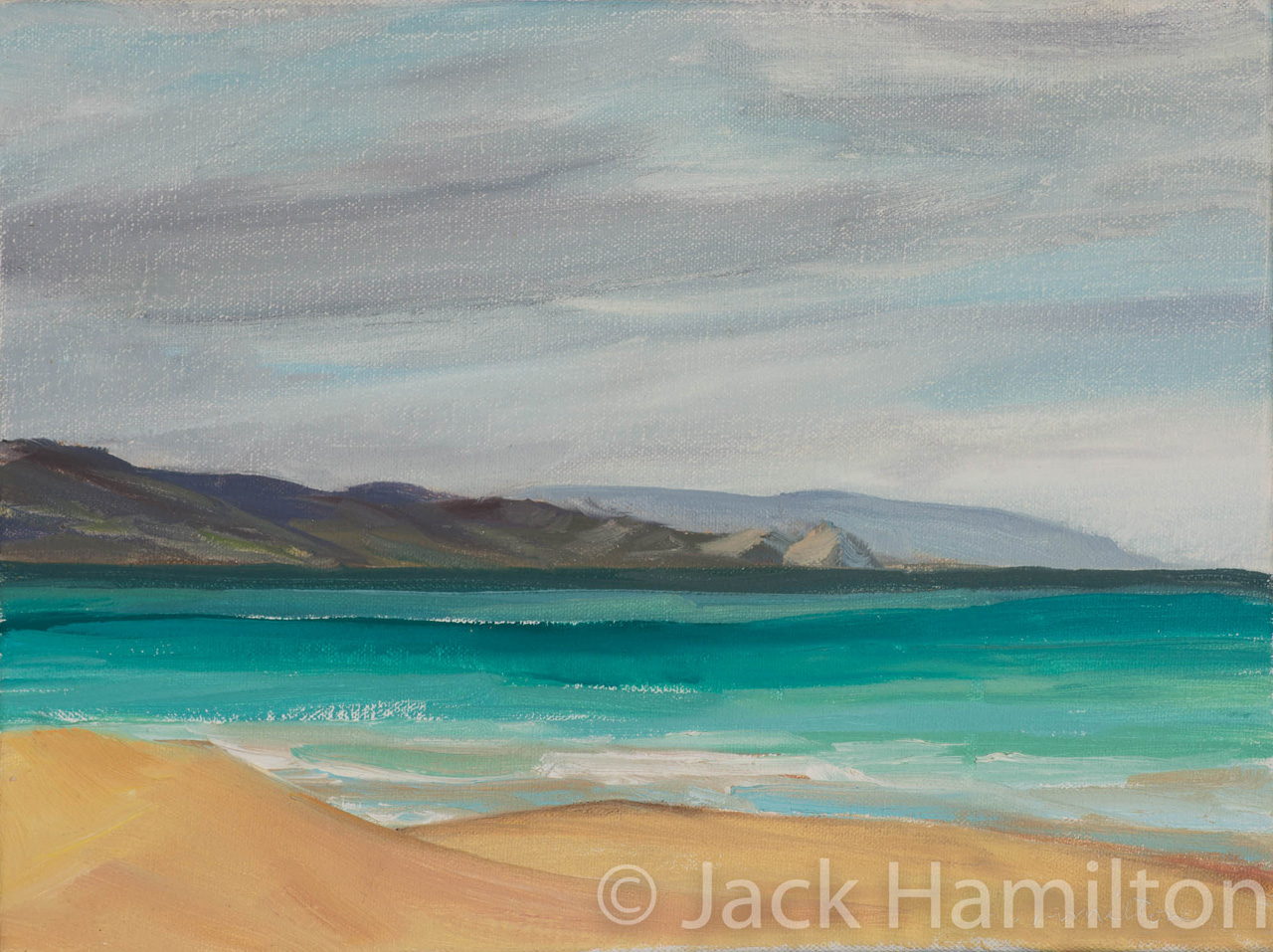 Serene Maui Beach by Jack Hamilton oil on canvas