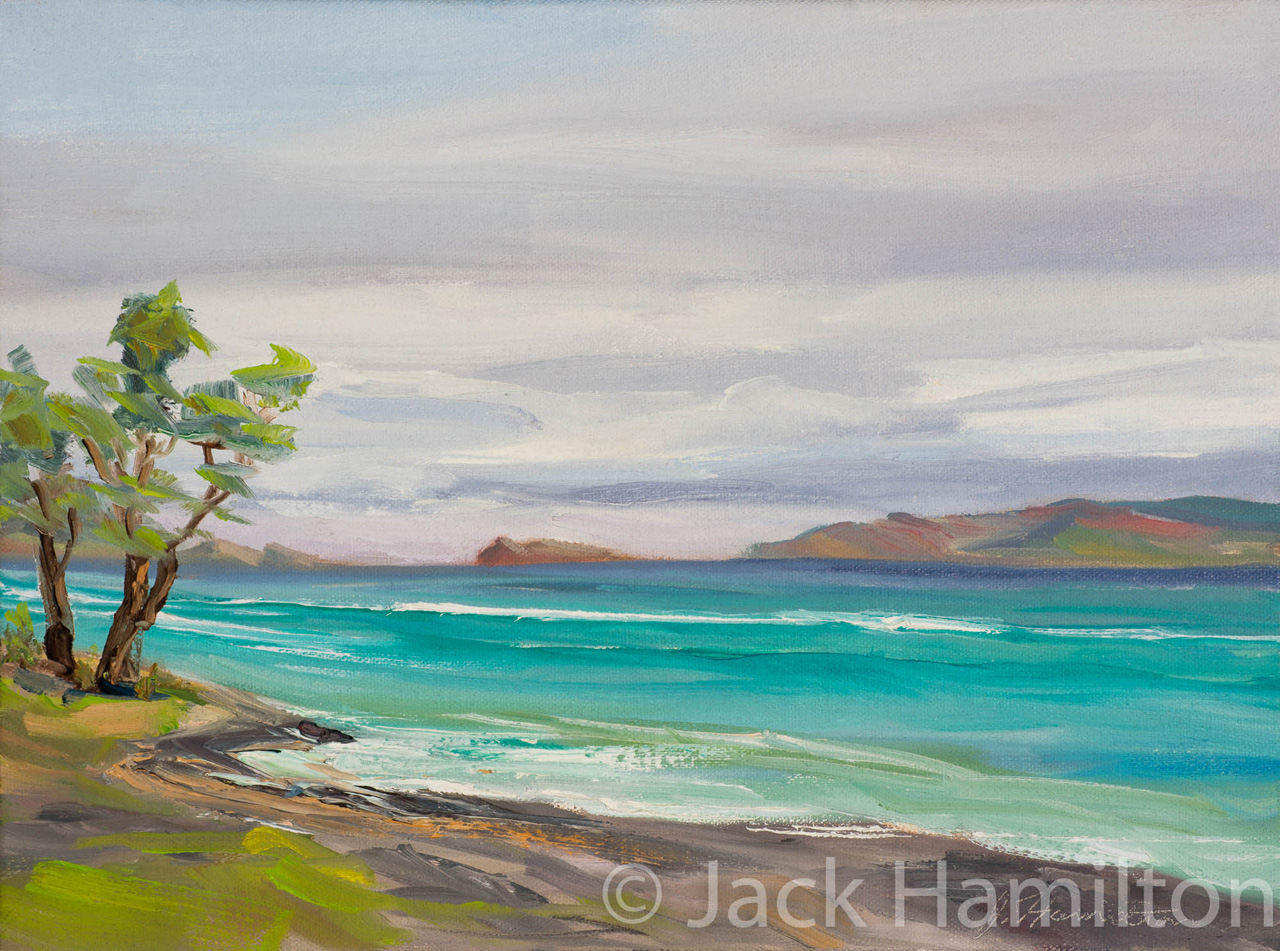 Peaceful Sea At Ukumehame by Jack Hamilton oil on canvas