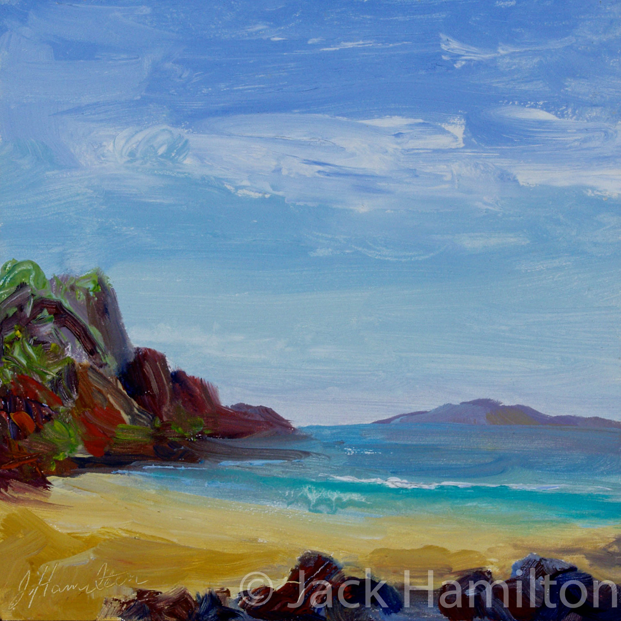 Enchanting Bay by Jack Hamilton oil on board