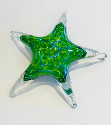 Large Glass Star by Jim Graper in green