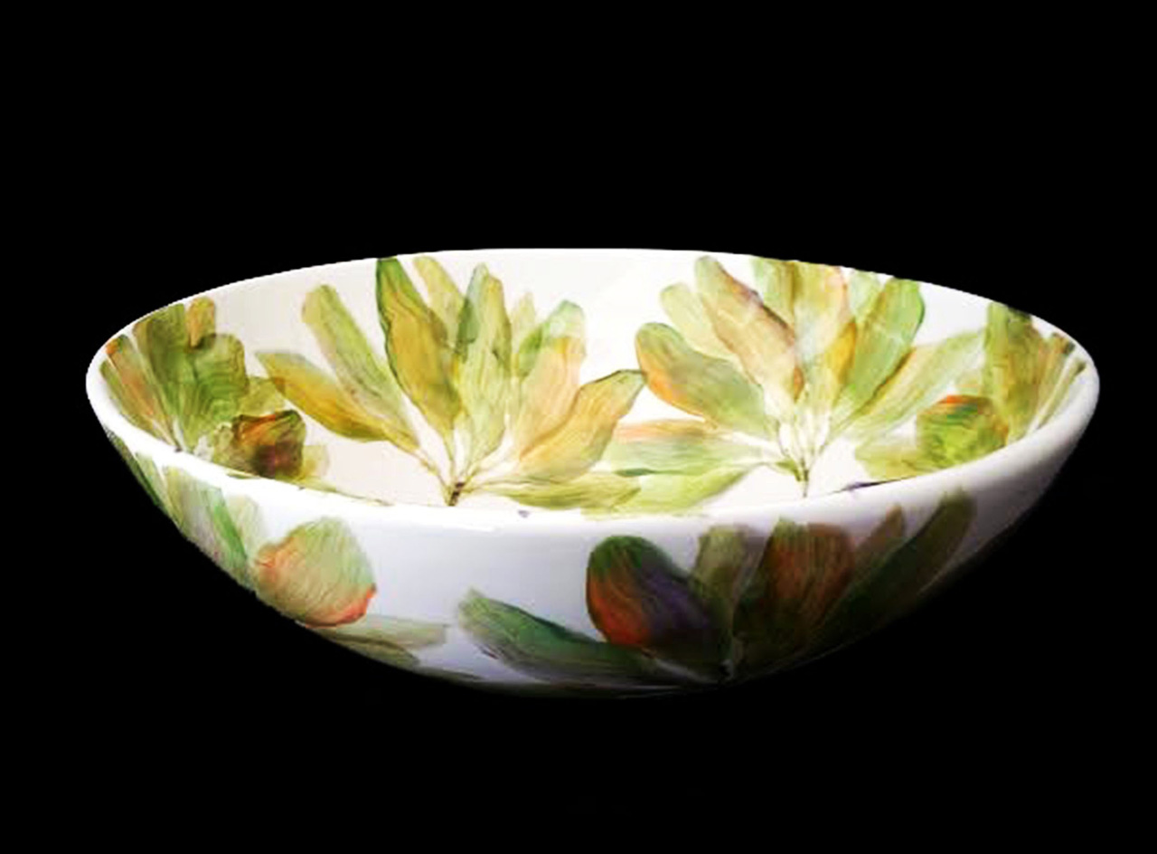 ceramic pasta bowl with hand painted ti leaf