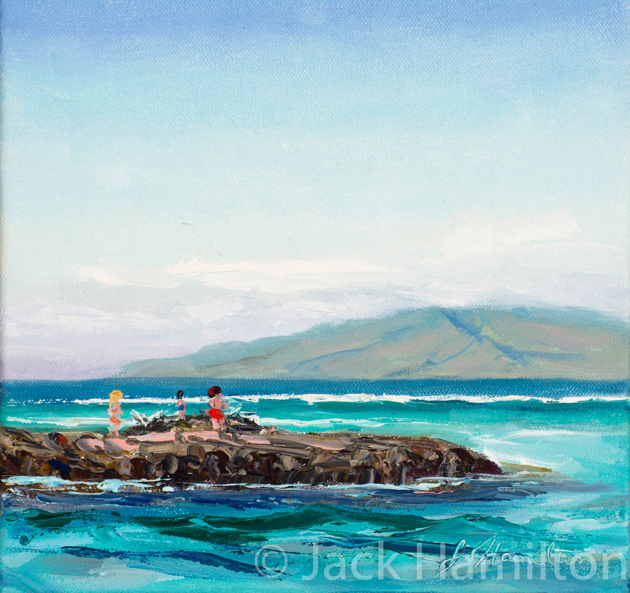 Breakwater At Lahaina Harbor by Jack Hamilton oil on canvas