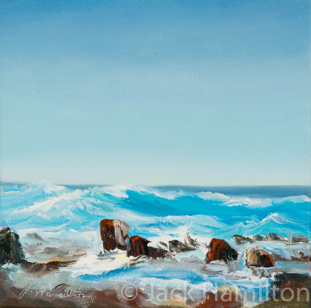 Turquoise Waves by Jack Hamilton oil on canvas
