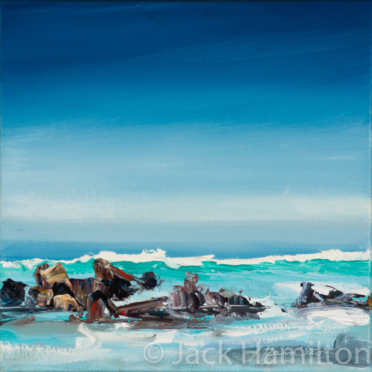 Keanae Breaking Wave by Jack Hamilton oil on canvas