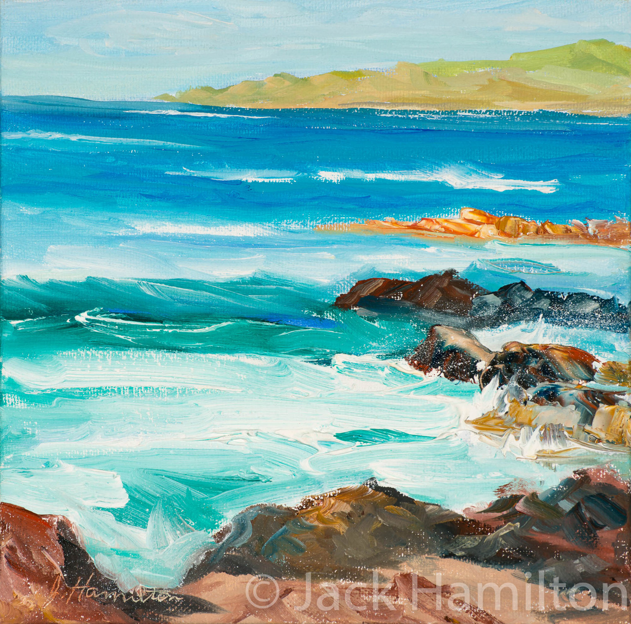 Hookipa Crashing Waves by Jack Hamilton oil on canvas