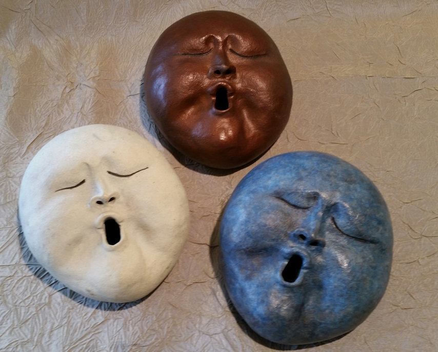 Hand Built Monk Faces by Marylyn Holland