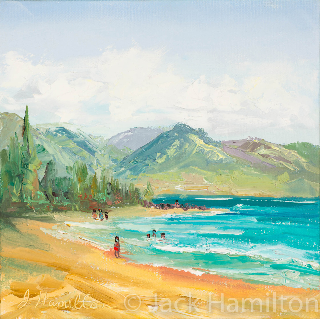 Eight At The Beach by Jack Hamilton oil on canvas