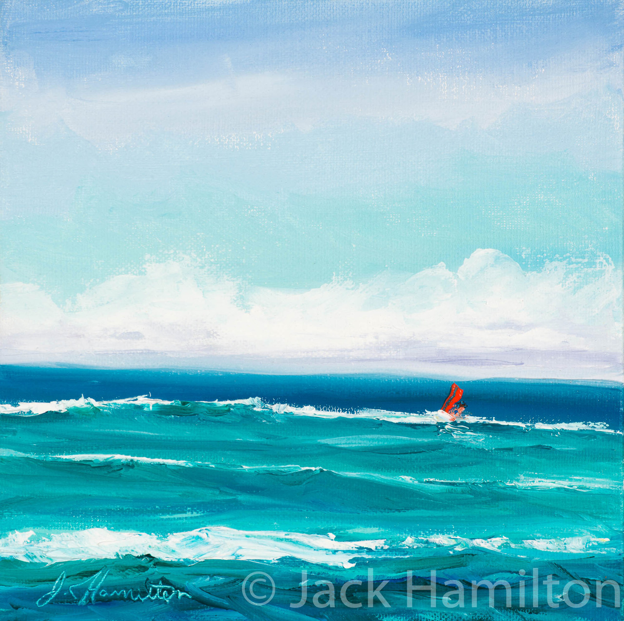 First Out by Jack Hamilton oil on canvas