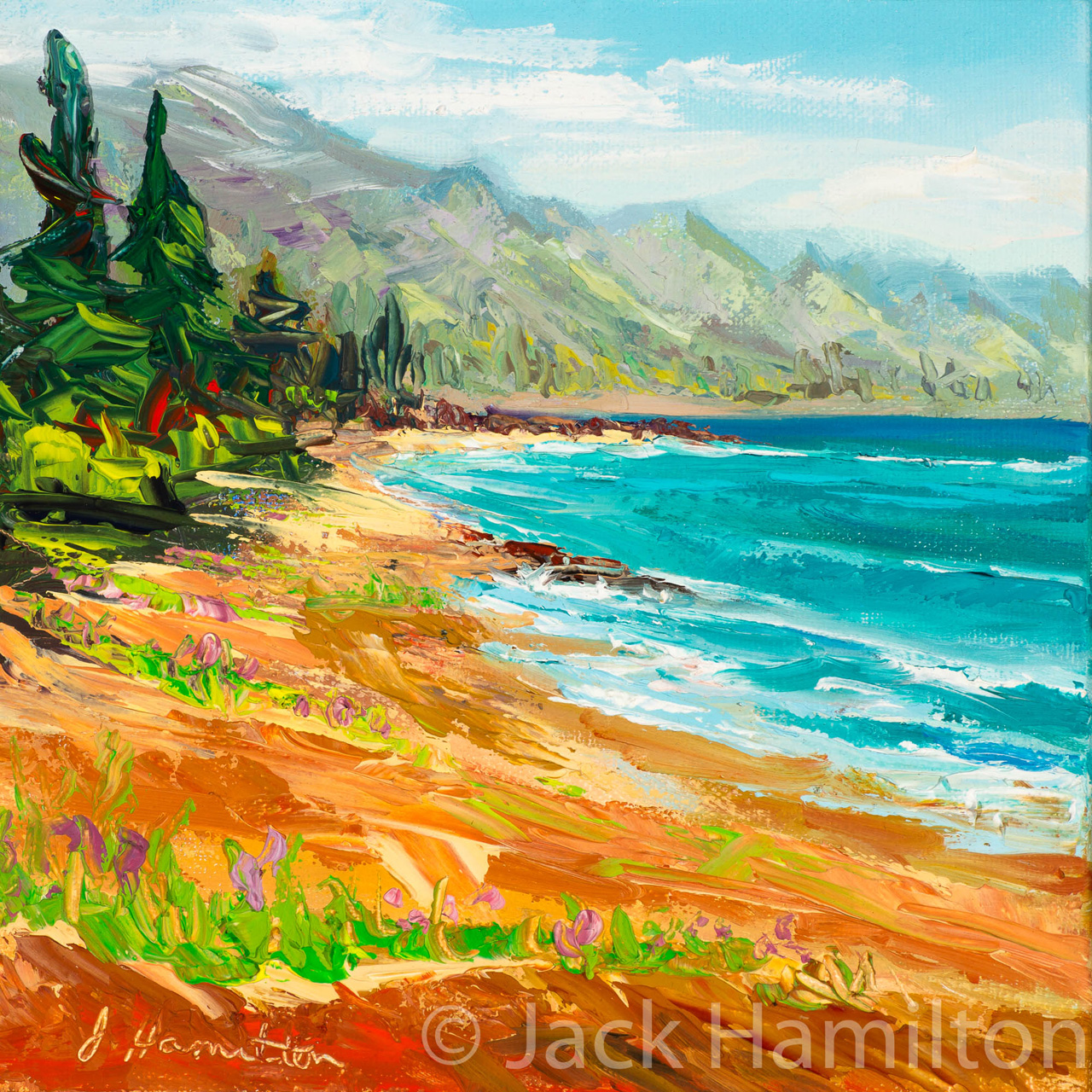 Stunning Day At Baldwin Beach by Jack Hamilton oil on canvas