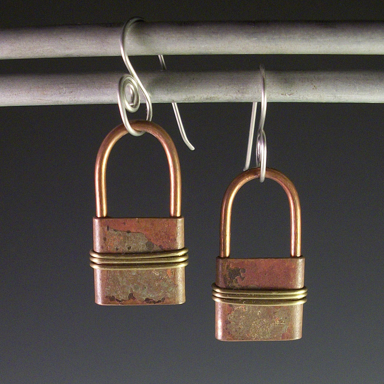 Copper Lockets Earrings by Mckenna Hallett