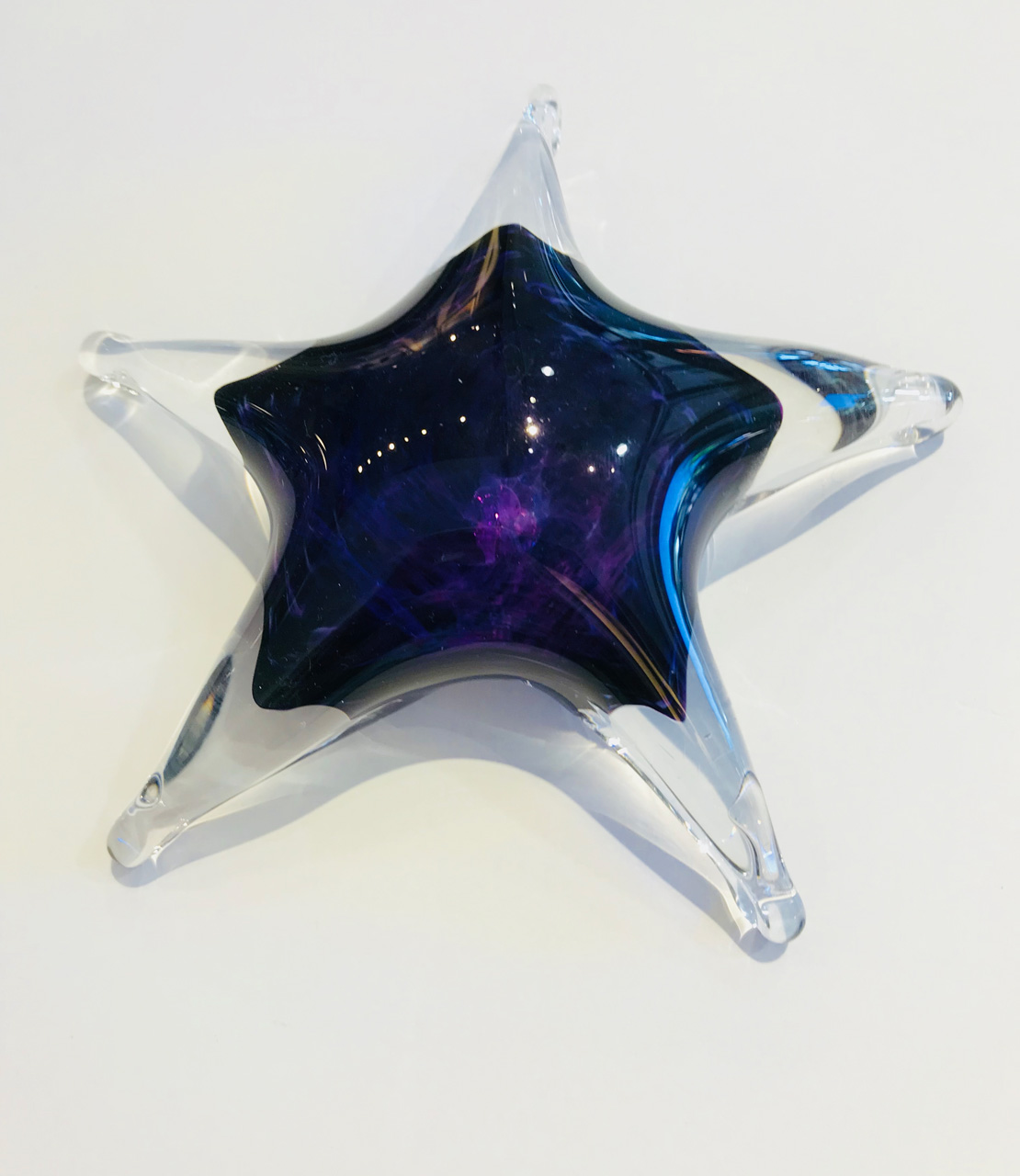 Large Glass Star by Jim Graper in dark blue