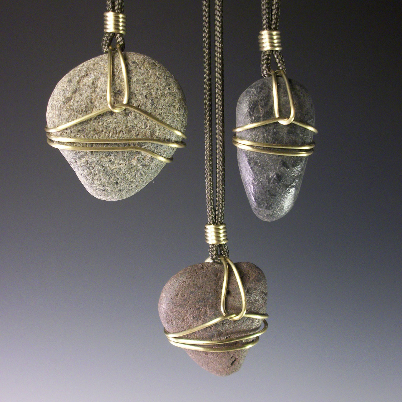 Beach Stones Necklace by Mckenna Hallett group shot of three