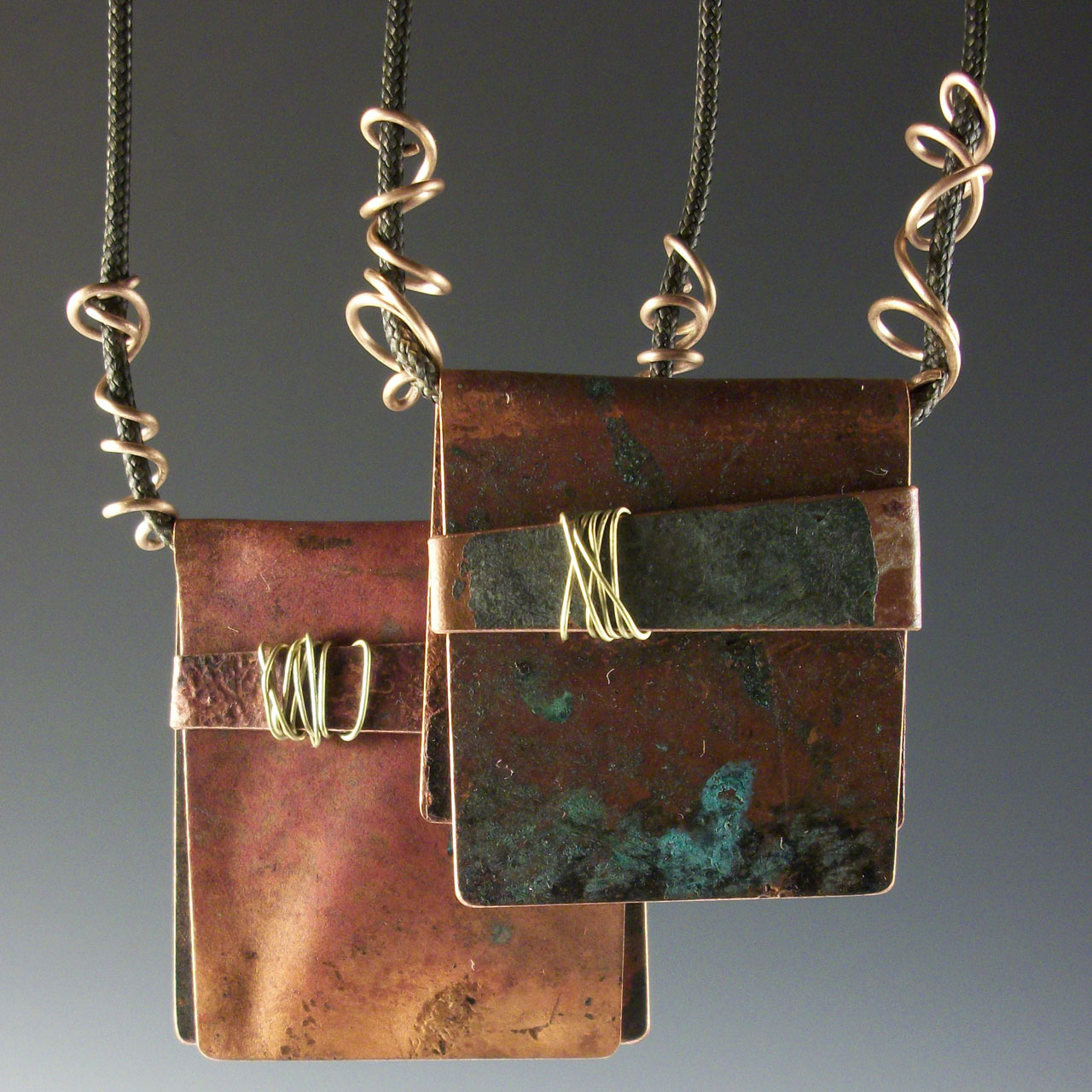 Copper Clutch Bag Necklace by McKenna Hallet mixed metal necklace