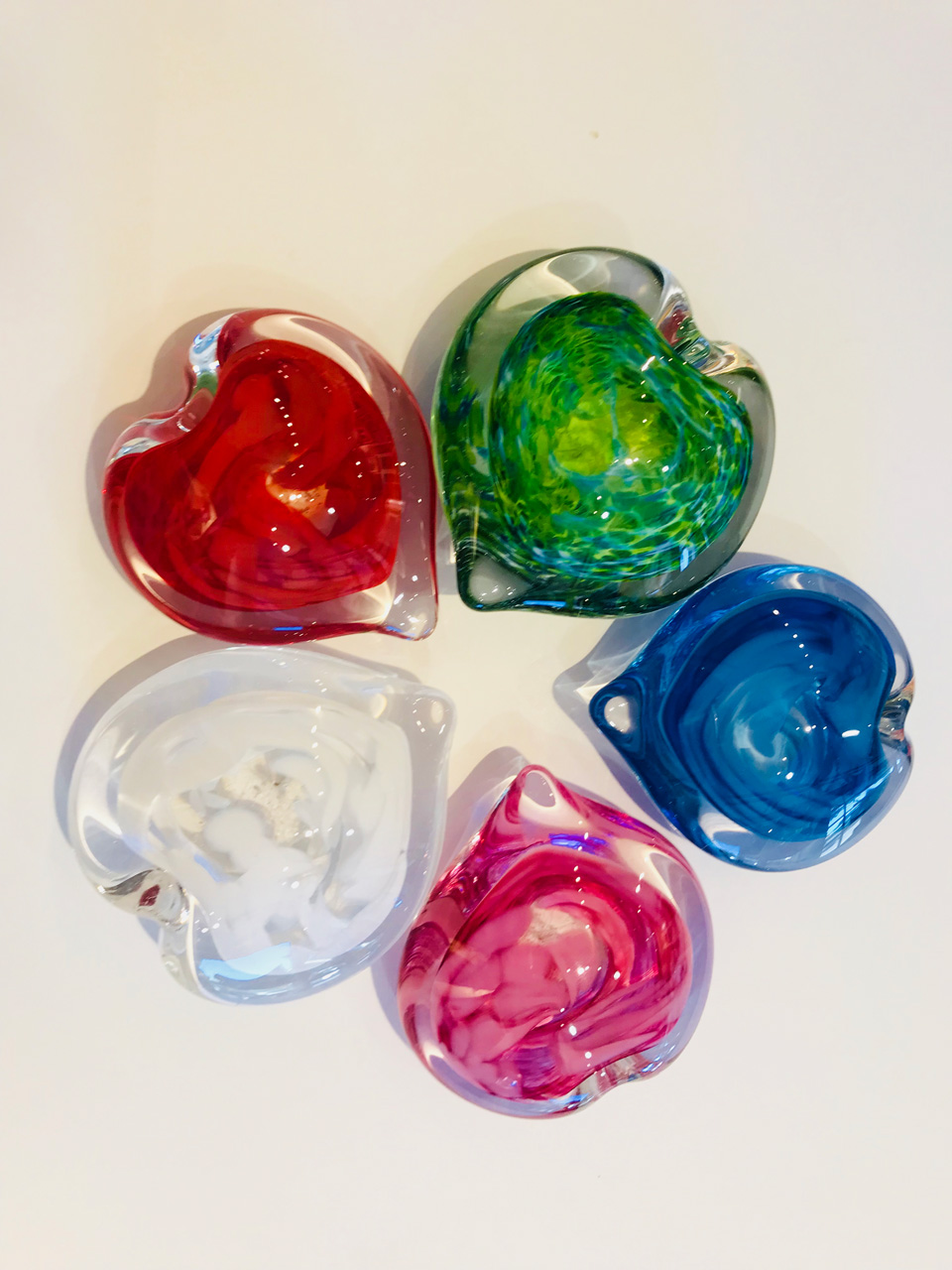 Large Glass Hearts by Jim Graper in assorted colors
