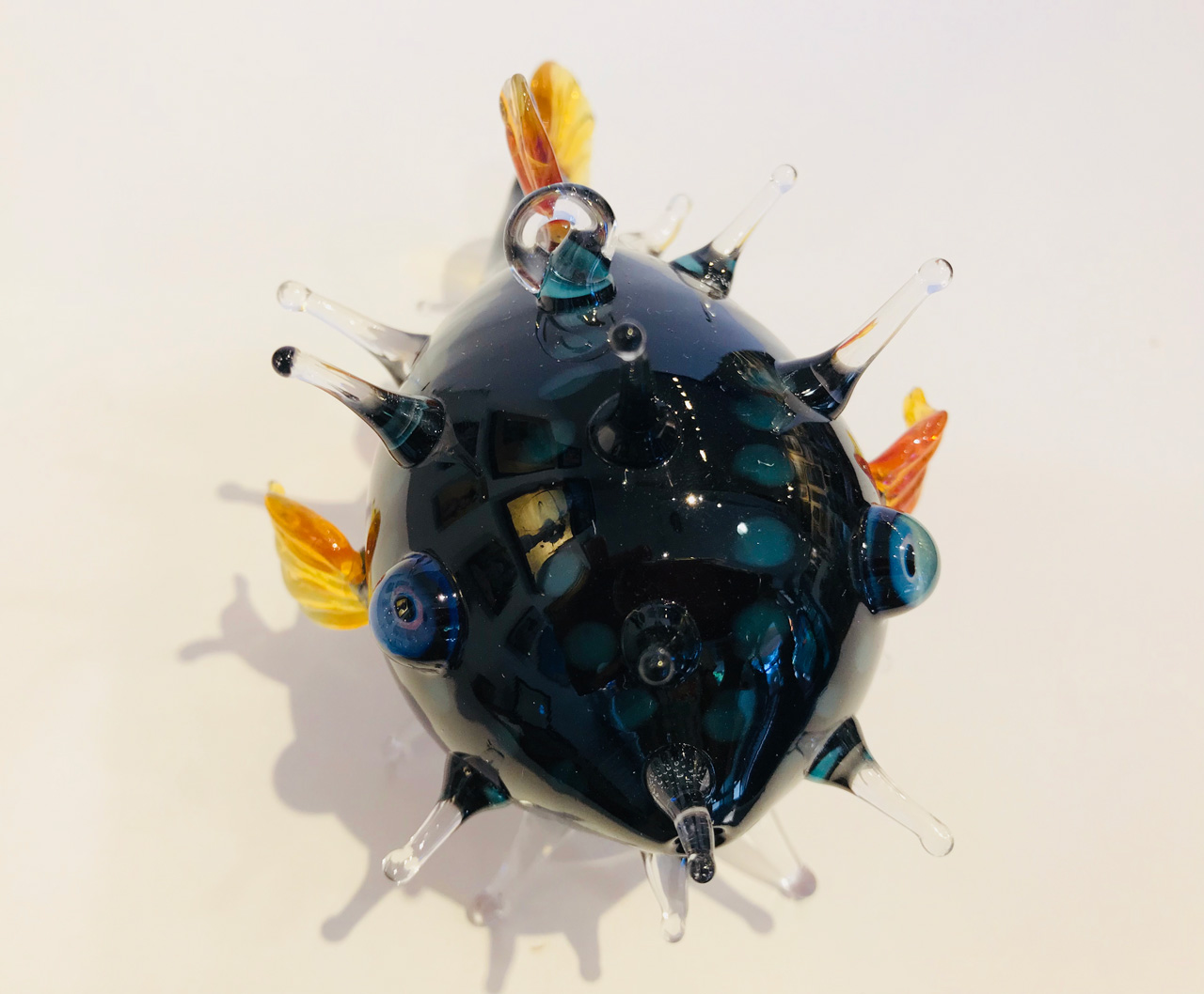 Blue Medium Glass Puffer Fish by Chris Upp front view