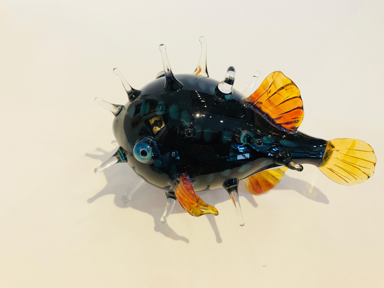 Blue Medium Glass Puffer Fish by Chris Upp side view