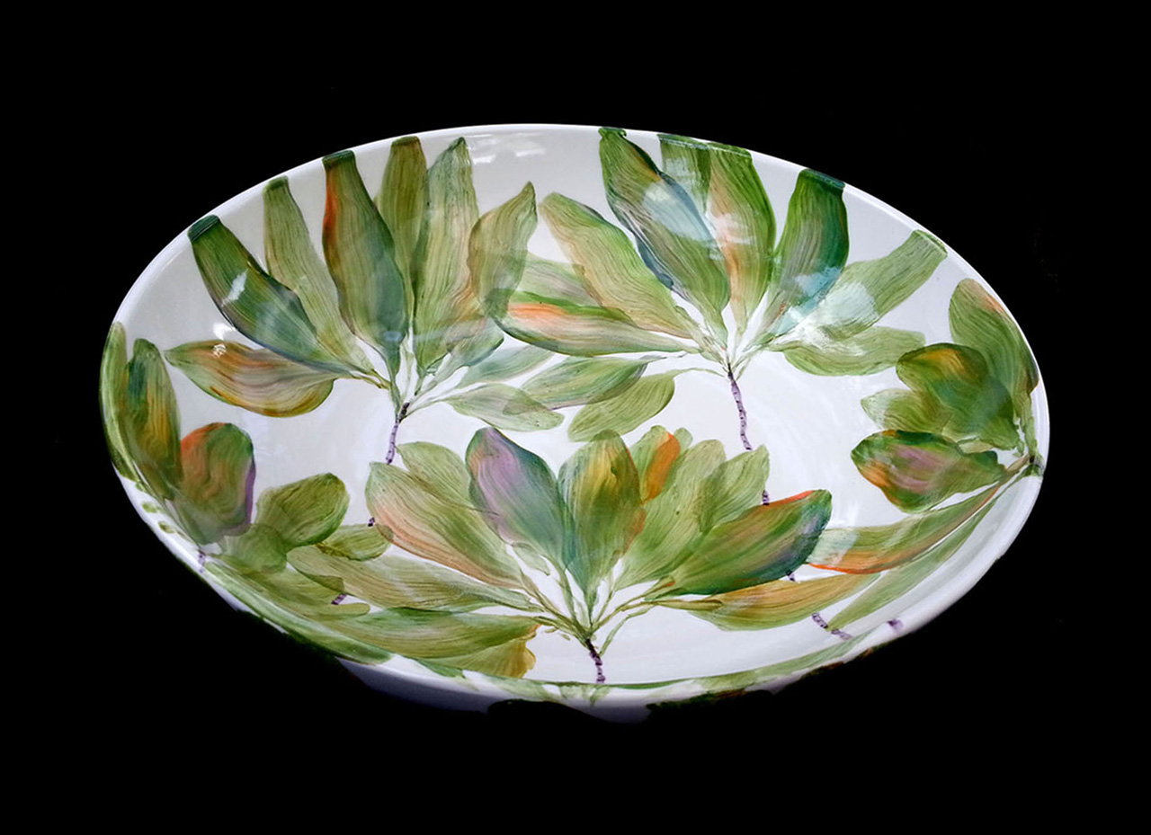 ceramic pasta bowl painted ti leafs