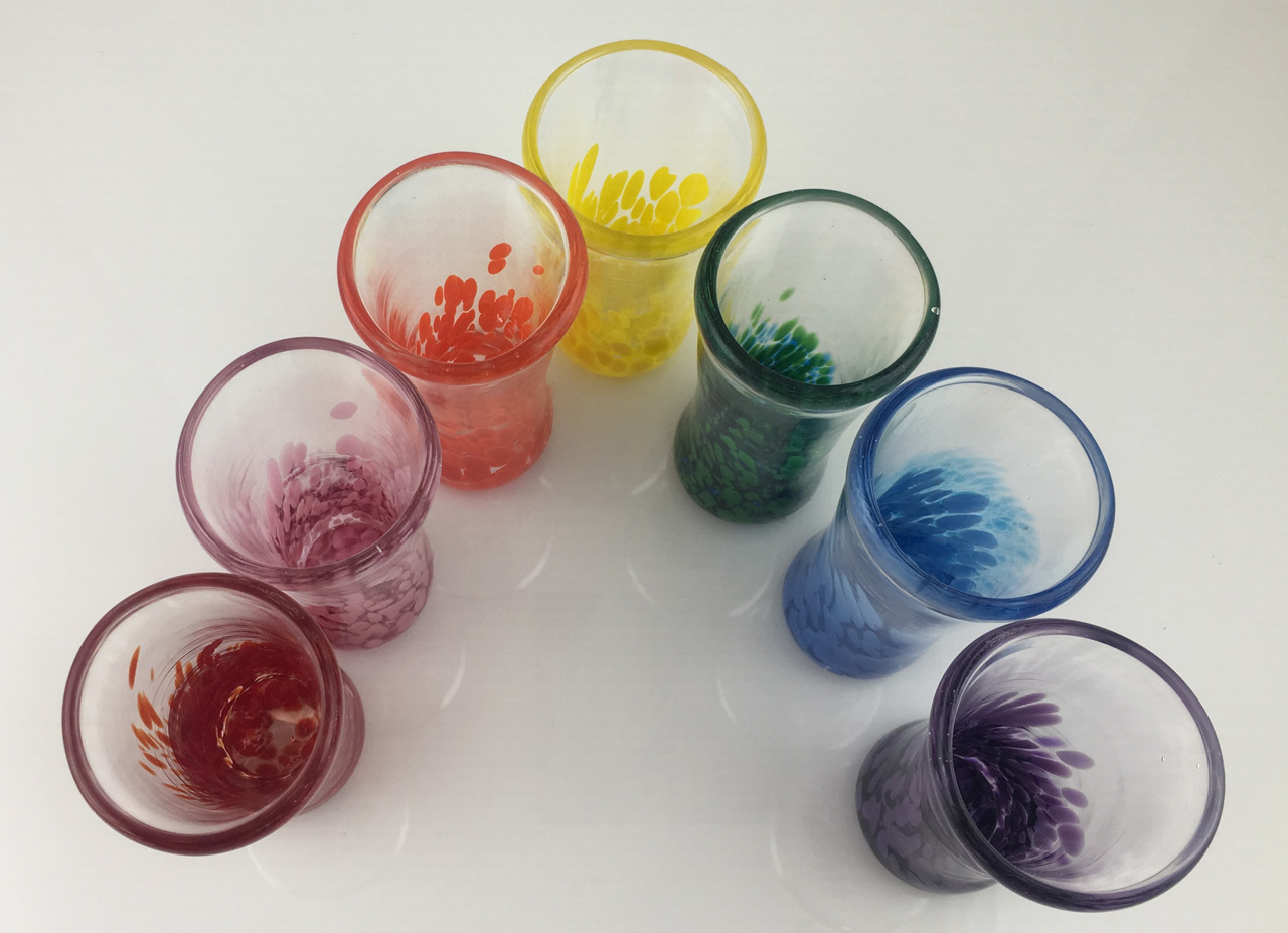 Shot Glasses by Jim Graper in assorted colors