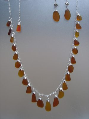Brown Sea Glass Strand Necklace