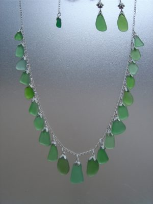 Green Sea Glass Strand Necklace