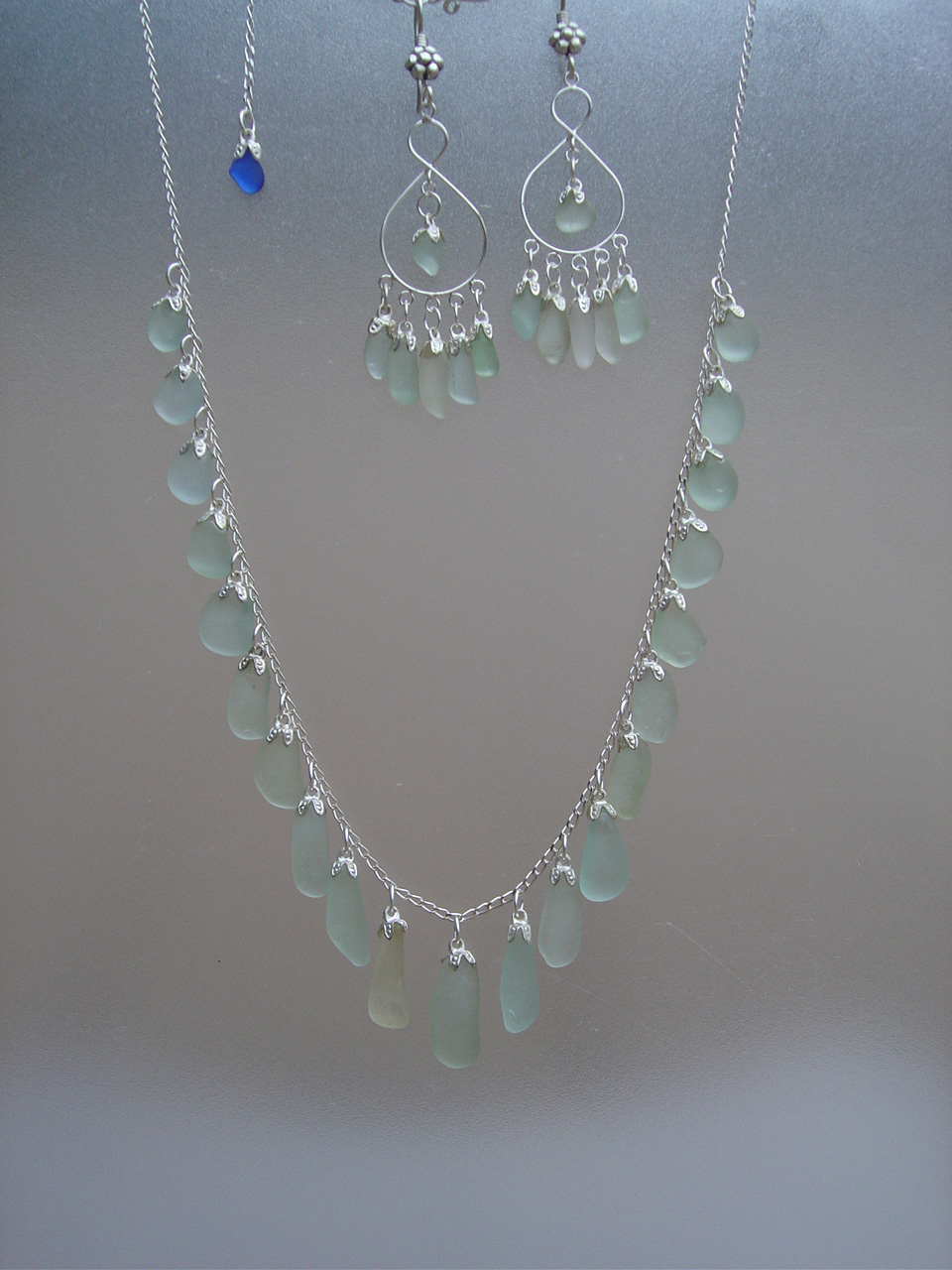 Light Blue Sea Glass Strand Necklace