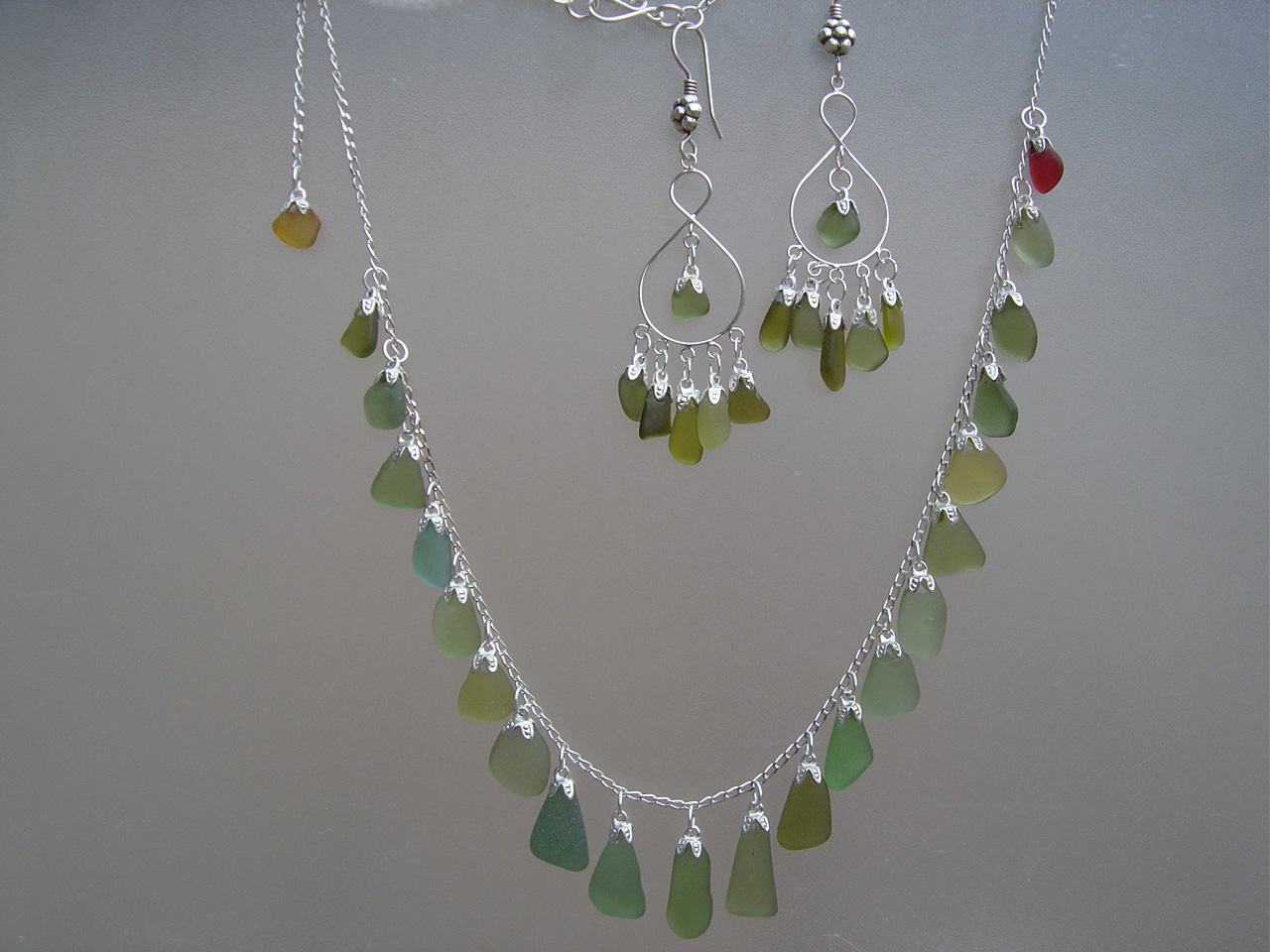 Multi Green Sea Glass Strand Necklace