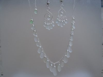 White Sea Glass Strand Necklace