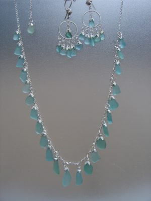 Aqua Sea Glass Strand Necklace