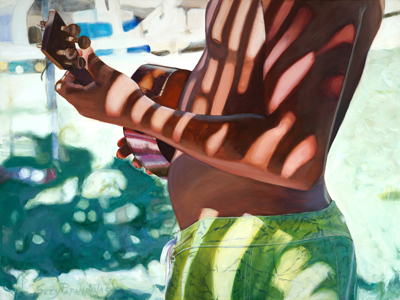 Giclee of a young boy holding a Ukulele with a plam tree shadow by Suzy Papanikolas