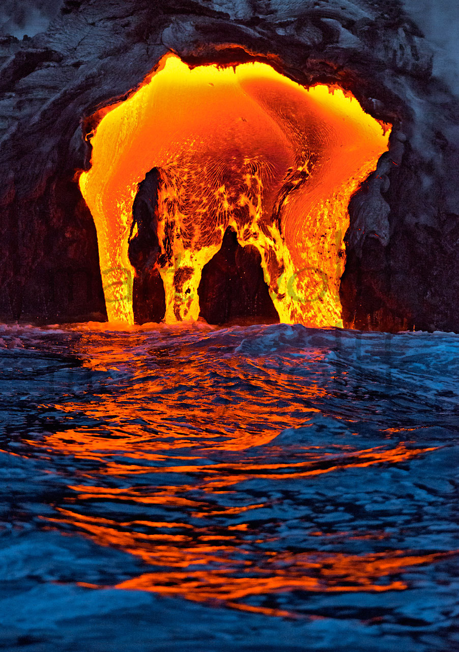 Creation by Marty Wolff lava flowing into the ocean