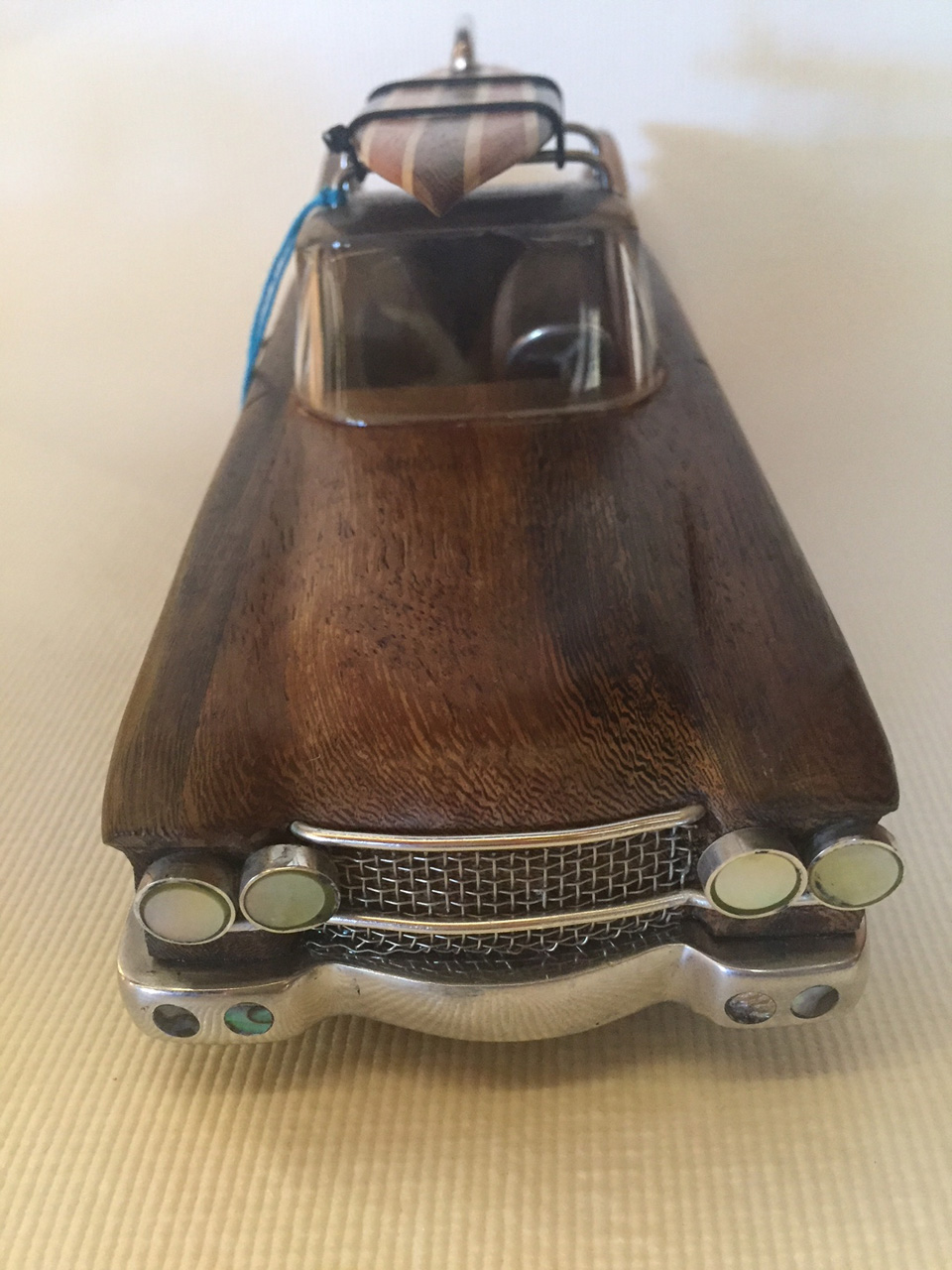 Cadillac by Doug Miller wood and metal model with surfboard