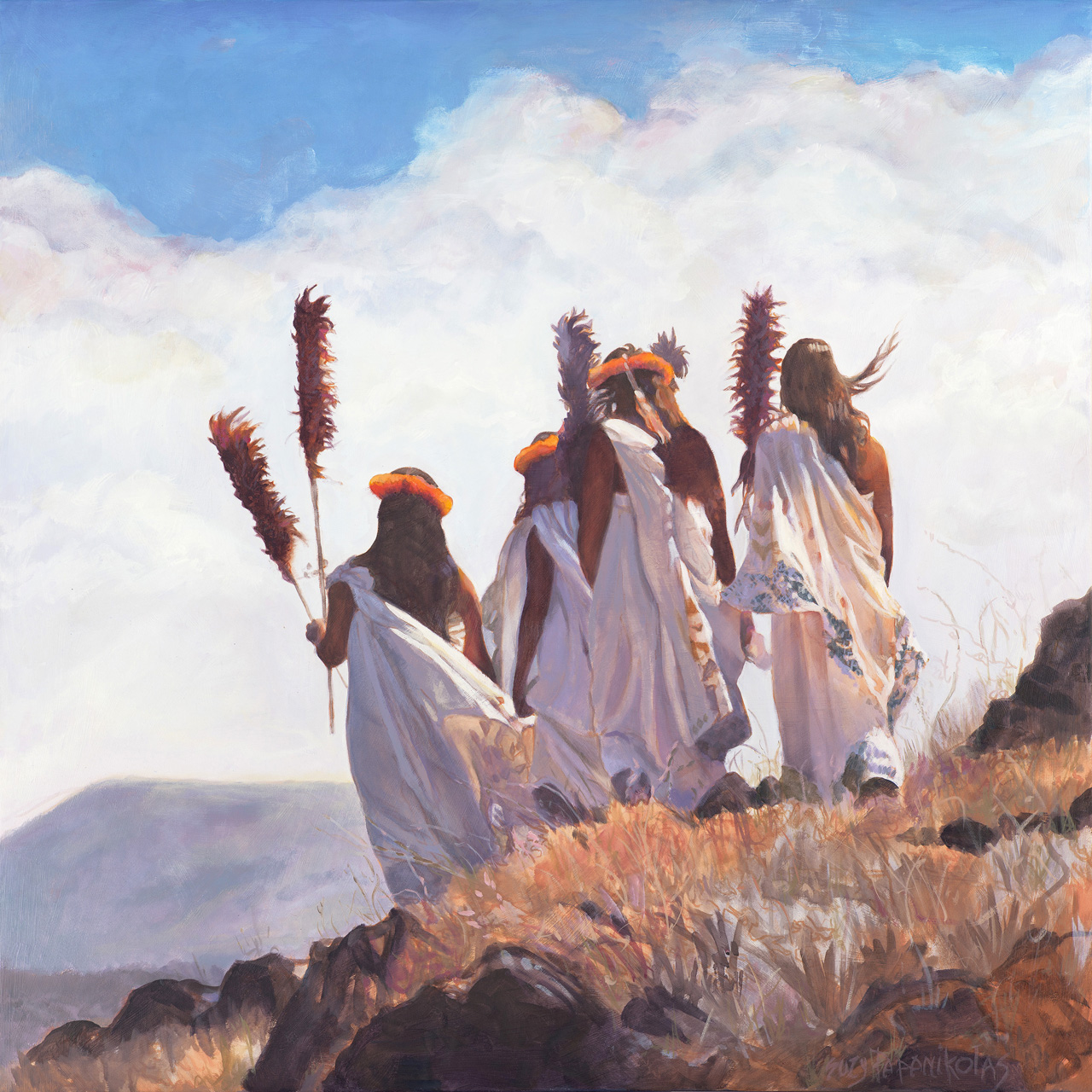 Giclee of the backs of four Hawaiian Alii on top of a mountain
