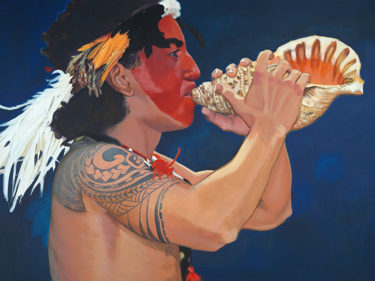 A young Hawaiian man with a painted face and tribal arm tattoo blowing a conch shell