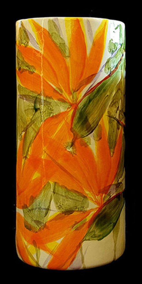 Cylinder Vase Large by Michael Lee bird of paradise design