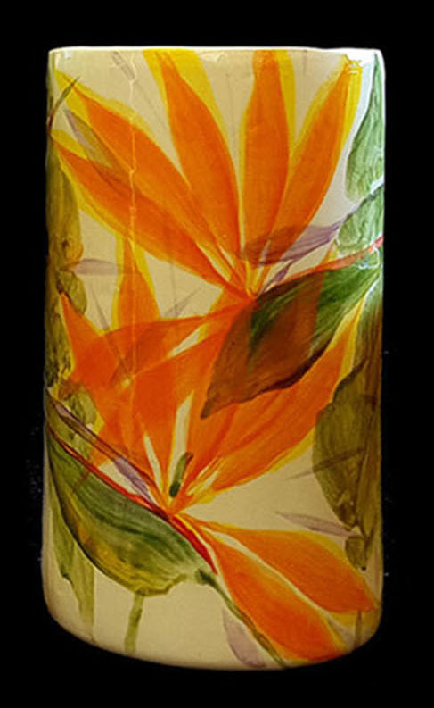 Cylinder Vase Medium by Michael Lee bird of paradise desgin