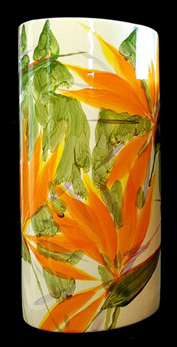 Cylinder Vase X-Large by Michael Lee bird of paradise design
