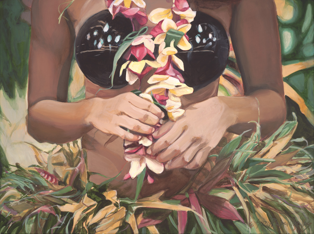 The torso of a female hula dancer with a coconut shell bra, plumeria lei, and ti leaf skirt