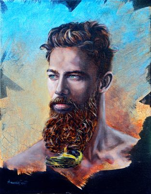 Dionysus by Amanda Scott oil on canvas of man with beard