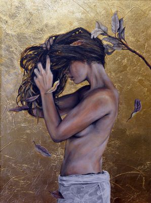 Fiona by Amanda Scott oil and gold leaf on canvas of a woman washing her hair