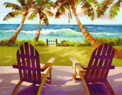 Front Row Seat by Susie Anderson two lounge chairs facing the ocean