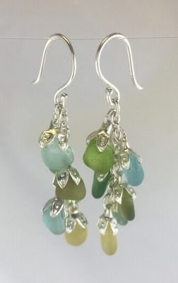 Multi Color Cluster of Sea Glass Earrings by Guillian Malone