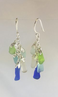 Multi Color Cluster of Sea Glass Earrings