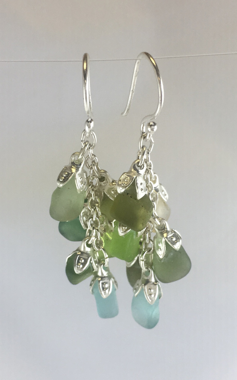 Cluster of Sea Glass Dangle Earrings