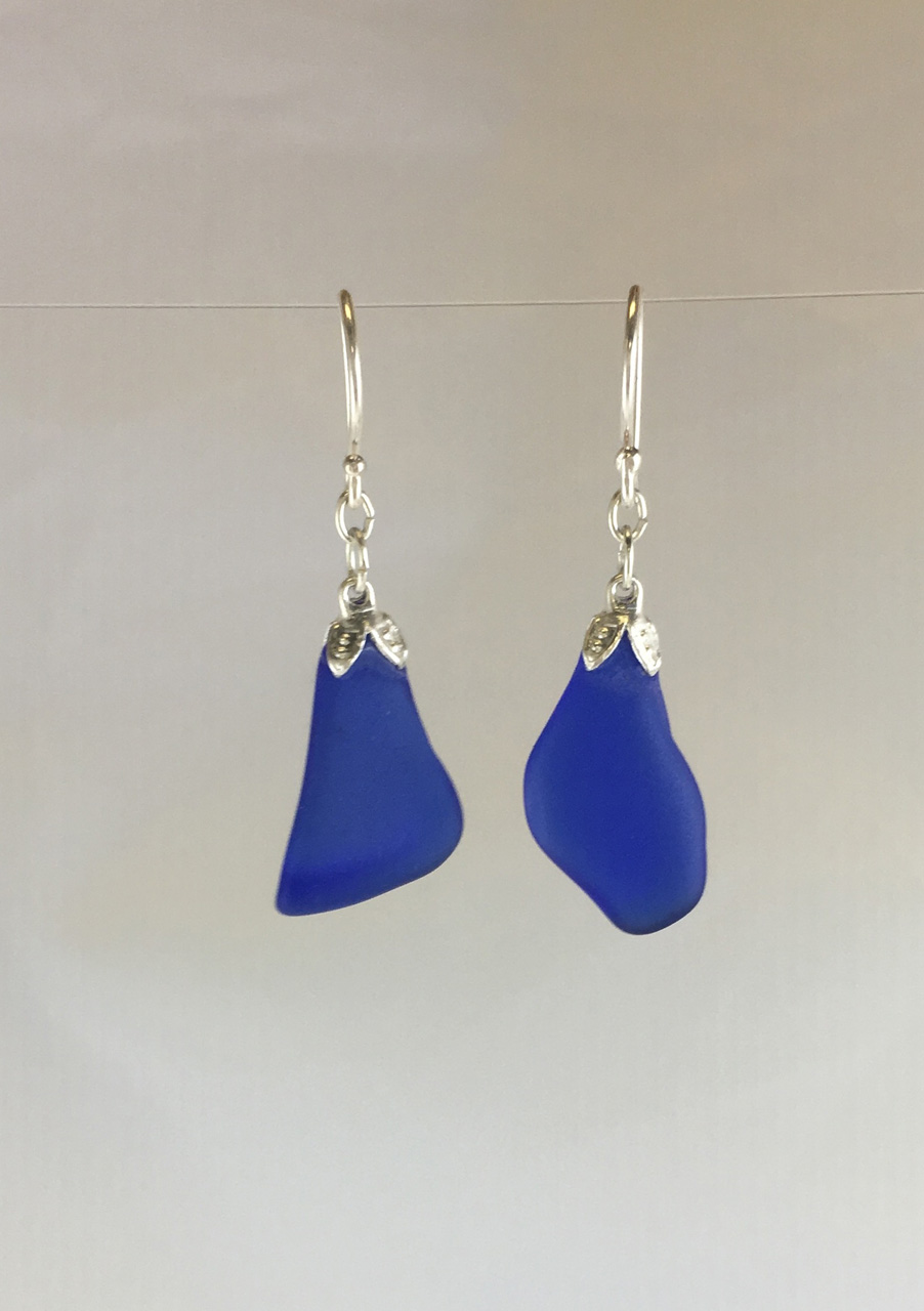 Royal Blue Single Sea Glass Dangle Earrings by Guillian Malone