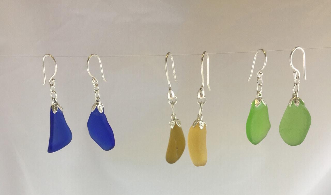 Group of Single Sea Glass Dangle Earrings