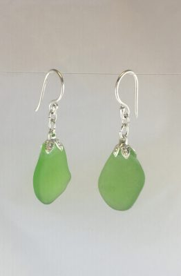Light Green Single Sea Glass Dangle Earrings